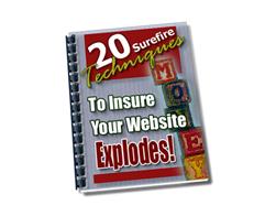 Free PLR eBook – 20 Surefire Techniques to Insure Your Website Explodes!